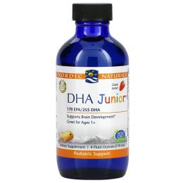 Nordic Naturals, DHA Junior, Great for Ages 3+, Strawberry Flavor, 4 fl oz (119 ml)