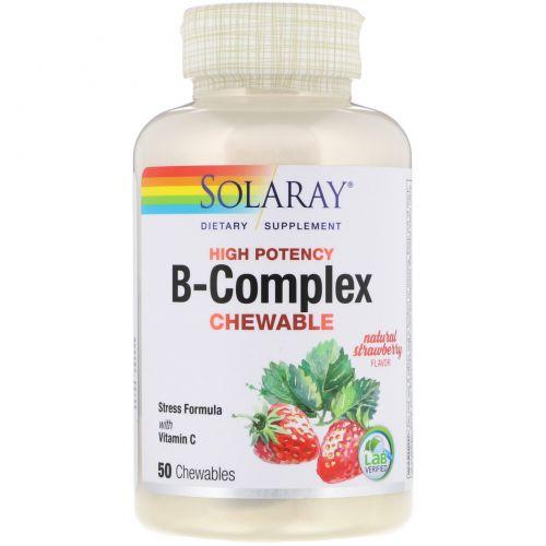 Solaray, Жевательные витамины группы B, вкус «клубника-киви», без сахара, 50 пластинок