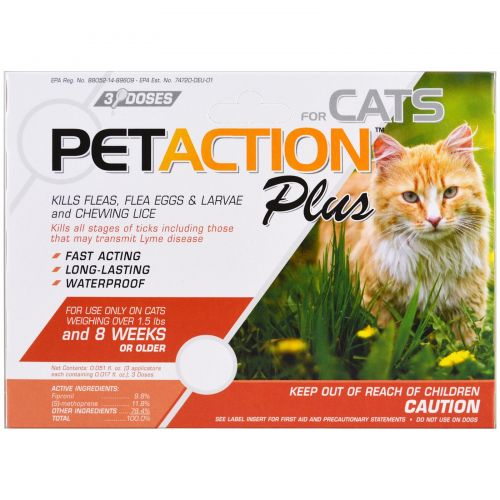 Pet Action Plus, For Cats, 3 Doses - 0.017 fl oz Each