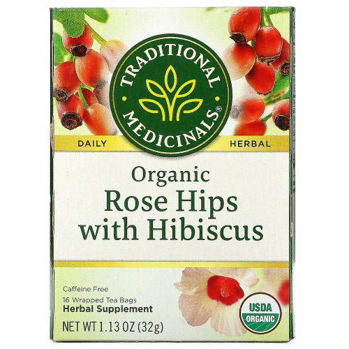 Traditional Medicinals, Органические плоды шиповника с гибискусом, 16 чайных пакетиков, 1.13 унций (32 г)