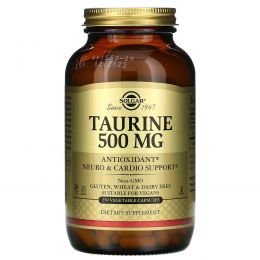 Solgar, Таурин, 500 мг, 250 растительных капсул