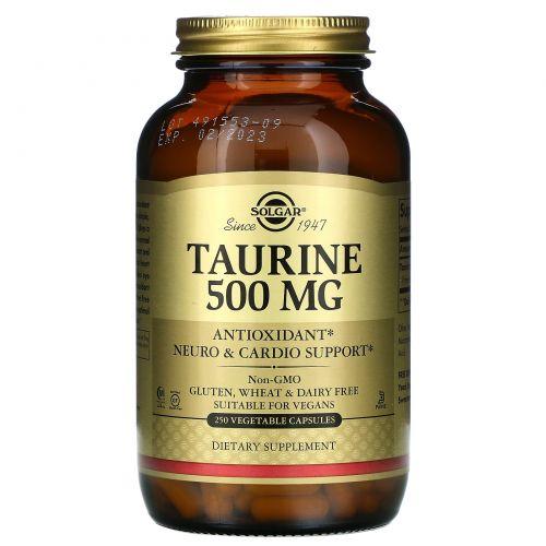 Solgar, Аминоэтансульфокислота, 500 мг, 250 вегетарианских капсул