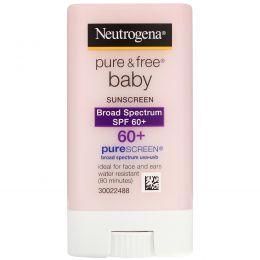 Neutrogena, Чистый и свободный солнцезащитный крем для младенцев, фактор защиты от солнца SPF 60+, 0,47 жидк. унц. (13 г)