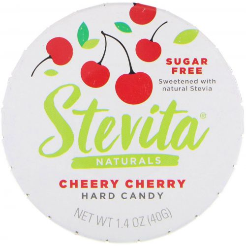 Stevita, Naturals, леденцы без сахара, веселая вишня, 40 г