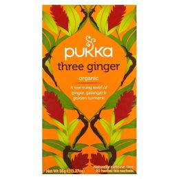 Pukka Herbs, Three Ginger Herbal Tea, Caffeine Free, 20 Tea Sachets, 1.27 oz (36 g)