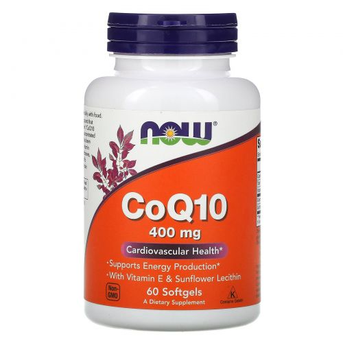 Now Foods, КоQ10, Высокая эффективность, Сердечно-сосудистые заболевания, 400 мг, 60 капсул