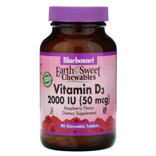 Bluebonnet Nutrition, EarthSweet, витамин D3, натуральный клубничный ароматизатор, 2,000 МЕ, 90 жевательных таблеток