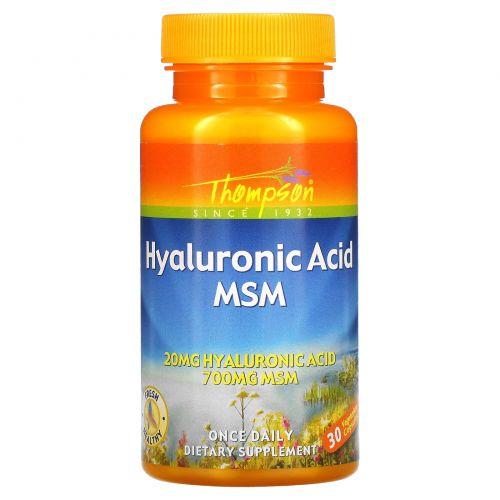 Thompson, Гиалуроновая кислота - МСМ, 30 растительных капсул