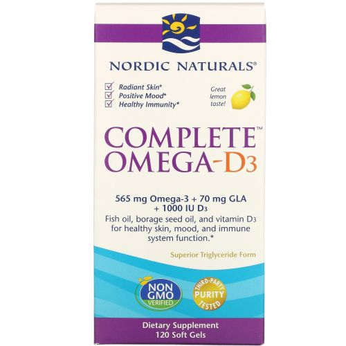 Nordic Naturals, Complete Омега D3, вкус лимона, 1000 мг, 120 капсул