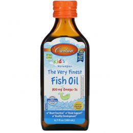 Carlson Labs, Kid's, норвежская серия, самый лучший рыбий жир, натуральный ароматизатор со вкусом апельсина, 800 мг, 200 мл (6,7 жидкой унции)