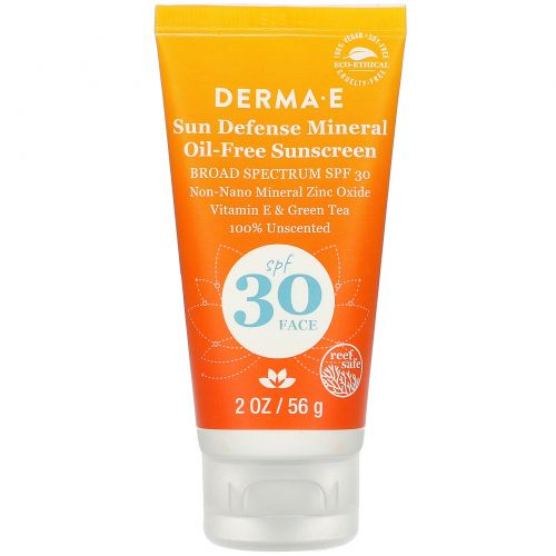 Derma E, Натуральный минеральный солнцезащитный крем, Sun Care, фактор защиты SPF 30, 2 унции (56 г)