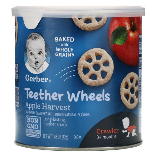 Gerber, Teether Wheels, Crawler 8+Months, Apple Harvest, 1.48 oz (42 g)