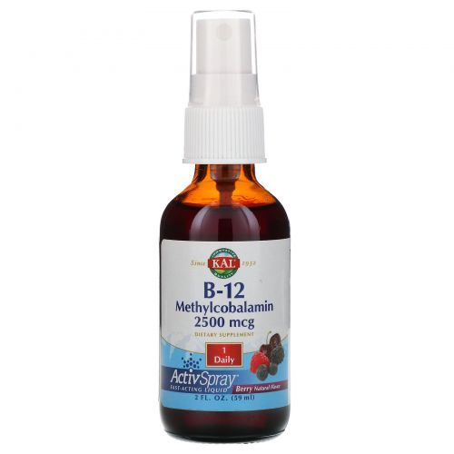 KAL, B-12 Methylcobalamin, Berry, 2500 mcg, 2 fl oz (59 ml)