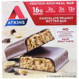 Atkins, Meal Bar, Chocolate Peanut Butter Bar, 5 Bars, 2.12 oz (60 g) Each