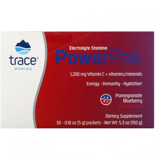 Trace Minerals Research, Электролит Стамина, Power Pak, гранат-черника, 1200 мг, 30 штук, 0,18 унций (5 г) каждая