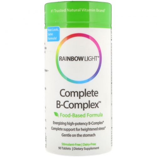 Rainbow Light, Полный комплекс витаминов B, формула на основе продуктов питания, 90 таблеток