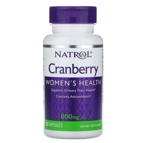Natrol, Клюква, 800 мг, 30 капсул