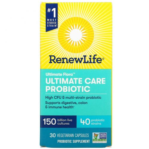Renew Life, UltimateFlora, UltimateCare, пробиотик с повышенной силой действия, 150млрд живых культур, 30вегетарианских капсул