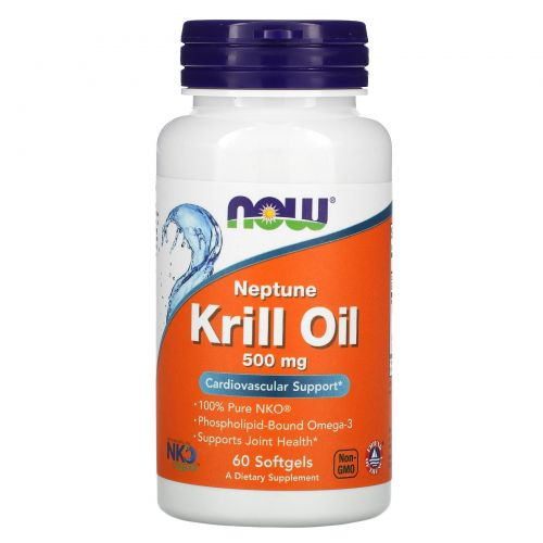 Now Foods, Масло криля Neptune, 500 мг, 60 таблеток в мягкой оболочке