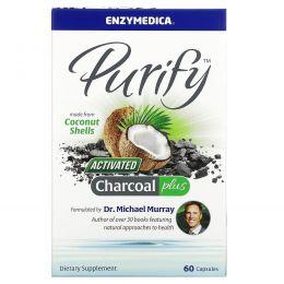 Enzymedica, Очищение, активированный кокосовый уголь+, 60 капсул