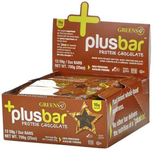 Greens Plus, Plusbar, протеины и шоколад, 12 батончиков по 59 г