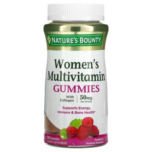 Nature's Bounty, Жевательные таблетки-мультивитамин для женщин, со вкусом малины, 50 мг, 90 жевательных таблеток