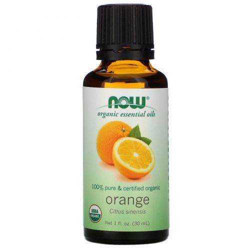 Now Foods, Органические эфирные масла, Апельсин, 1 жидкая унция (30 мл)