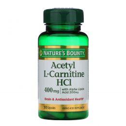 Nature's Bounty, Ацетил L-карнитин  HCI, 400 мг, 30 капсул