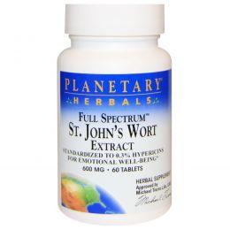 Planetary Herbals, Экстракт зверобоя полного спектра, 600 мг, 60 таблеток