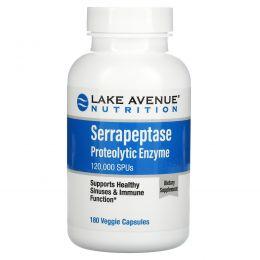 Lake Avenue Nutrition, Серрапептаза, протеолитический фермент, 120000SPU, 180растительных капсул