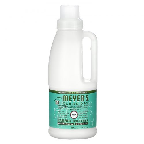 Mrs. Meyers Clean Day, Смягчитель для стирки, запах базилика, 32 жидких унций (946 мл)