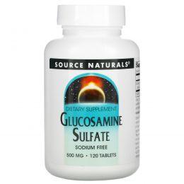 Source Naturals, Сульфат глюкозамина, без натрия, 500 мг, 120 таблеток