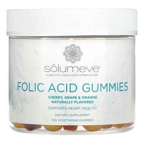 Solumeve, Жевательные таблетки с фолиевой кислотой, без желатина, разные вкусы, 100вегетарианских жевательных таблеток