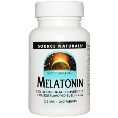 Source Naturals, Мелатонин, Сублингвальные Таблетки со Вкусом Апельсина 240 таблеток, 2,5мг