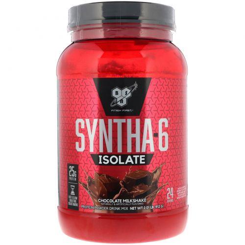 BSN, Изолят Syntha-6, протеиновая смесь для приготовления напитков, шоколадный молочный коктейль, 2,01 фунта (912 г)