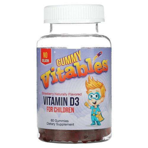 Vitables, Gummy Vitamin D3 for Children, No Gelatin, Strawberry Flavor, 60 Vegetarian Gummies