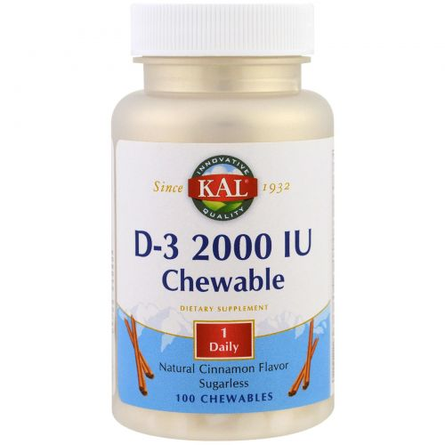 KAL, D-3 Chewable, Natural Cinnamon Flavor, 2000 IU, 100 Chewables