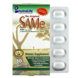NutraLife, Оригинальные SAMе (S-аденозил-L-метионин), 400 мг, 30 покрытых оболочкой энтеральных таблеток
