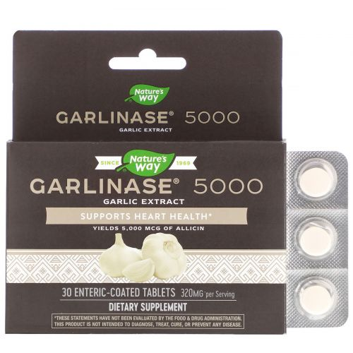 Enzymatic Therapy, Garlinase 5000, 30 Enteric-Coated Tablets