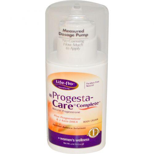 Life Flo Health, Progesta- Care Полный Уход, Прогестерон 4 унции (113.4 г)