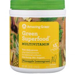 Amazing Grass, Зеленая чудо-пища, мультивитамин, ананас и померанцевая трава, 210 г