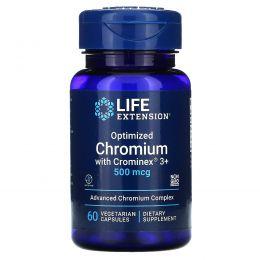 Life Extension, Оптимизированный хром с добавкой Crominex 3+, 500 мкг, 60 капсул на растительной основе