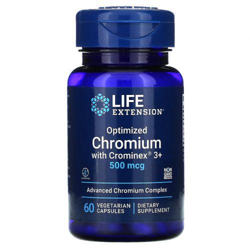 Life Extension, Optimized Chromium with Crominex 3+, 500 mcg, 60 Vegetarian Capsules