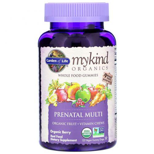 Garden of Life, Mykind Organics, пренатальные мультивитамины, органические ягоды, 120 жевательных конфет