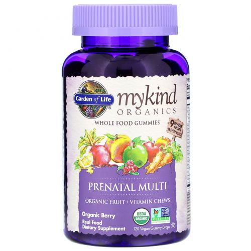 Garden of Life, Mykind Organics, Prenatal Multi, Organic Berry, 120 Gummy Drops