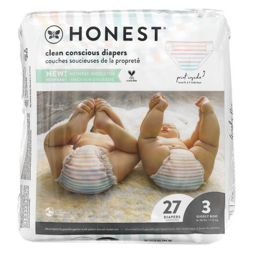 The Honest Company, Honest Diapers, Size 3, 16-28 Pounds, Rose Blossom, 27 Diapers