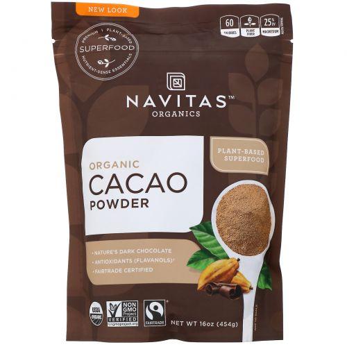 Navitas Organics, Органический какао-порошок, сырой шоколадный порошок, 16 унций (454 г)