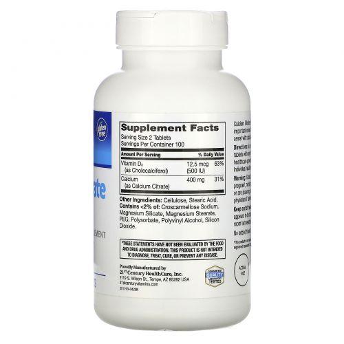 21st Century, Комплекс цитрата кальция Petites + D3, 200 таблеток, покрытых оболочкой