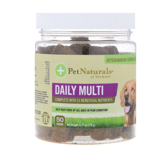 Pet Naturals of Vermont, Daily Multi, For Dogs, 50 Chews, 6.17 oz (175 g)