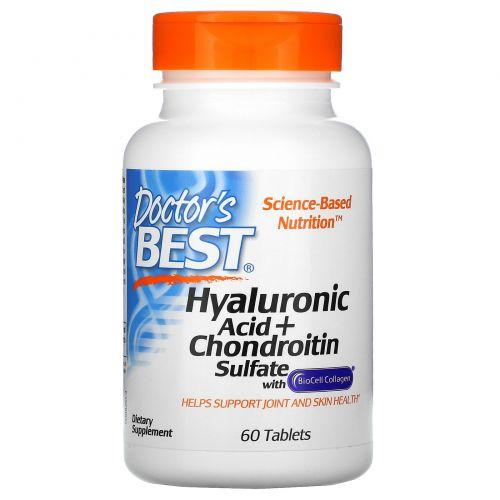 Doctor's Best, Лучшая гиалуроновая кислота с хондроитин сульфатом, 60 таблеток